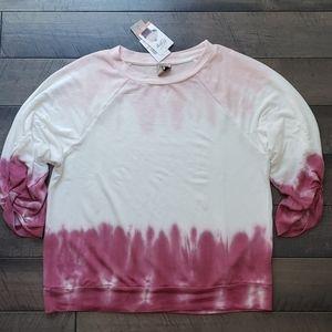 Pink & White Tie Dye Sweater, M